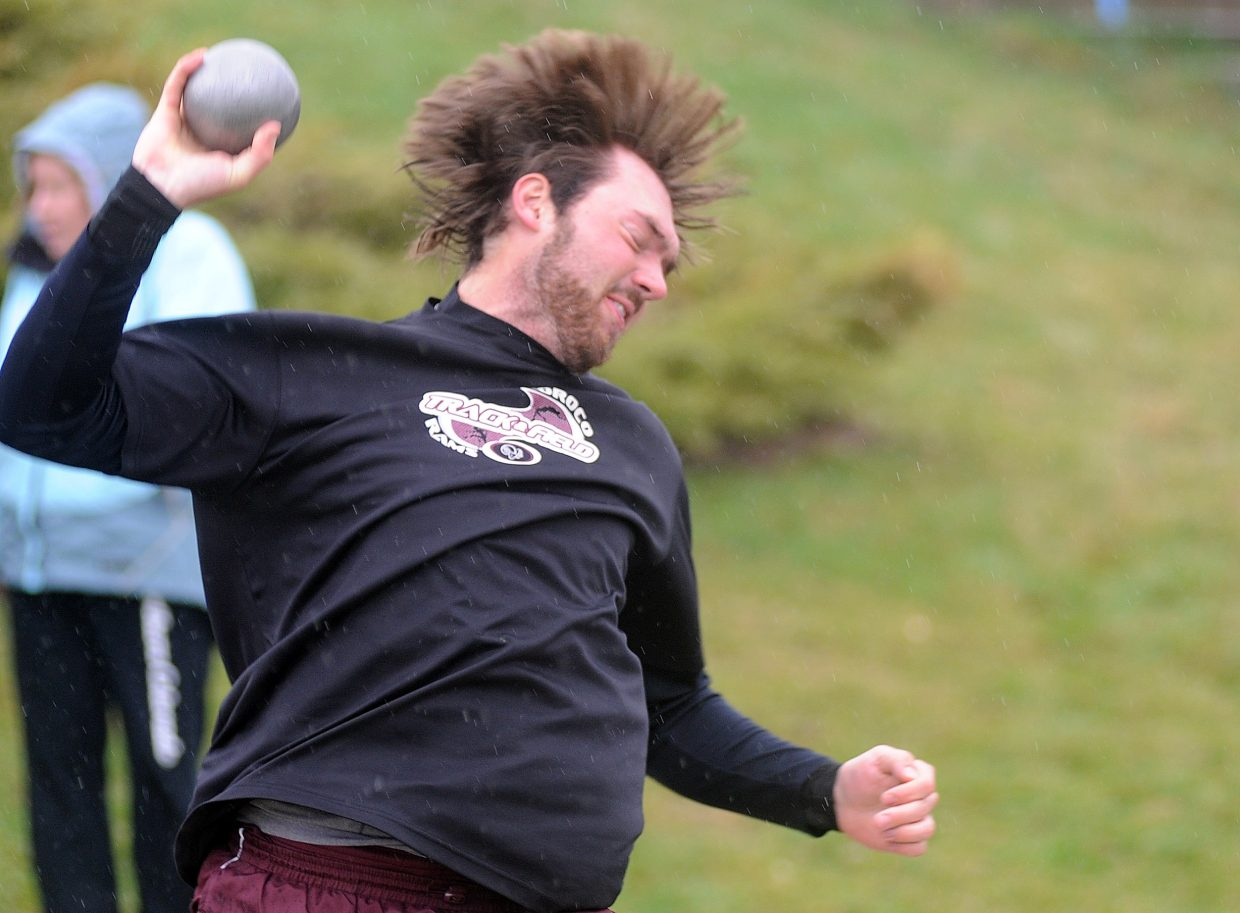 Soroco's Matt Watwood throws the shot put Friday in Craig. Watwood won the event and two others at the track meet.