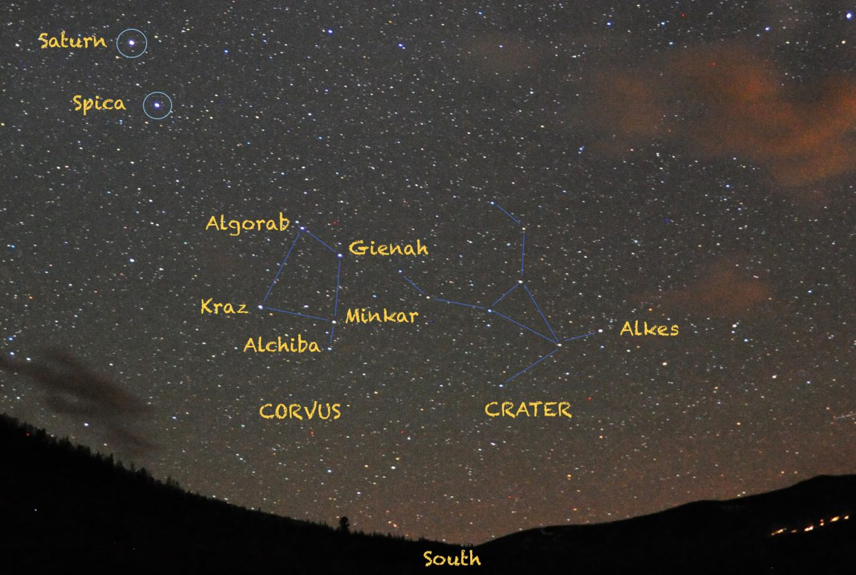 Look for Corvus, the Crow and Crater, the Cup in the southern sky at about 10 p.m. in late April, not far from the bright star Spica and Saturn.