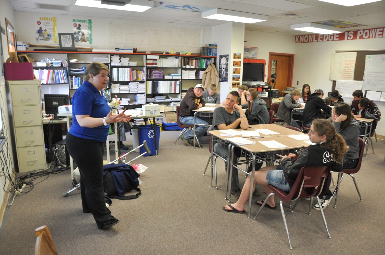 Stephanie Fletcher, director of admissions at Colorado Mountain College's Alpine Campus, talks to Soroco High School students April 17 about college applications. Nearly half of the students at the high school are taking college courses through Colorado Northwestern Community College's concurrent enrollment program.