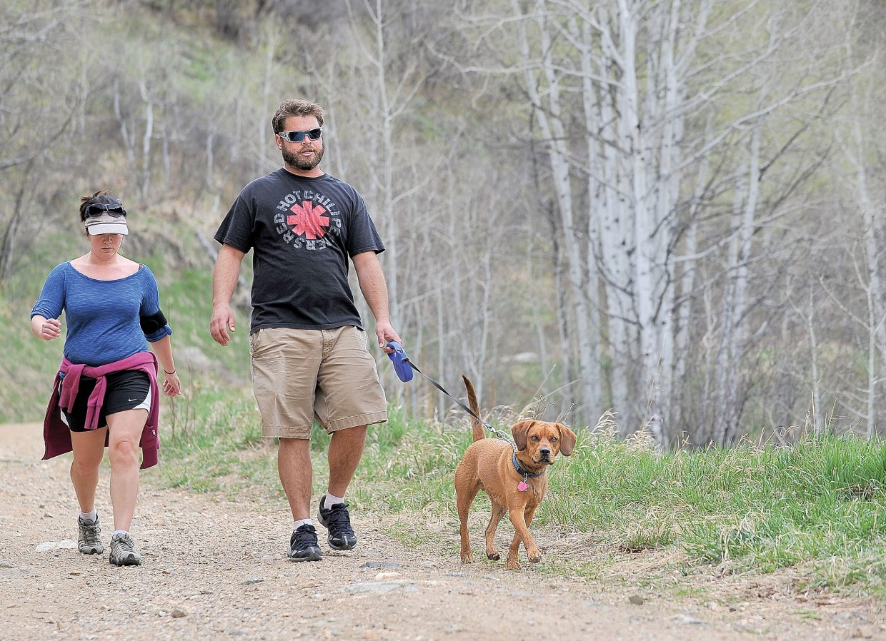 Kyle Love, right, and Maria Palmer walk Brewster along the Spring Creek Trail. Love and Palmer say they always pick up after Brewster, but that can't be said of all dog owners. That's why organizers of April Stools Day are hoping that a large number of volunteers will come out in force to help clean up local parks and trails across Steamboat Springs.