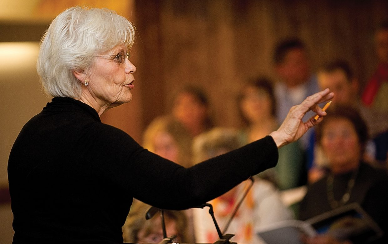 "Marie Carmichael directs the choir during a rehearsal for ""Spring Awakening"" concert at the United Methodist Church of Steamboat Springs. The Yampa Valley Singers and Steamboat Chamber Singers, featuring the Steamboat String Quartet, will fill the church during performances at 7 p.m. Saturday and 3 p.m. Sunday."
