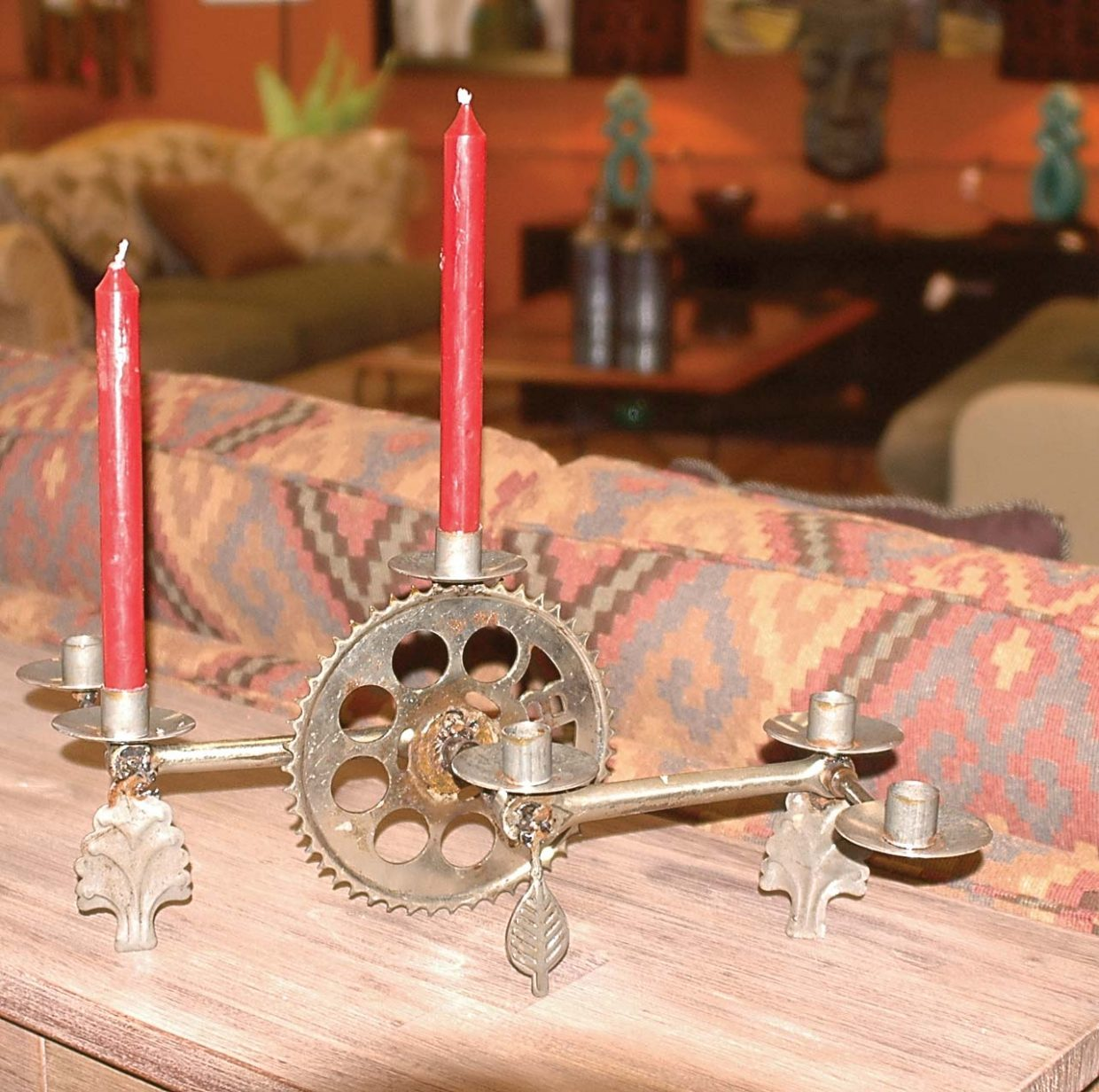 Candle holders made from recycled bicycle crank sets are among the novel items to be discovered at Steamboat Moxie Home Consignments and Design.