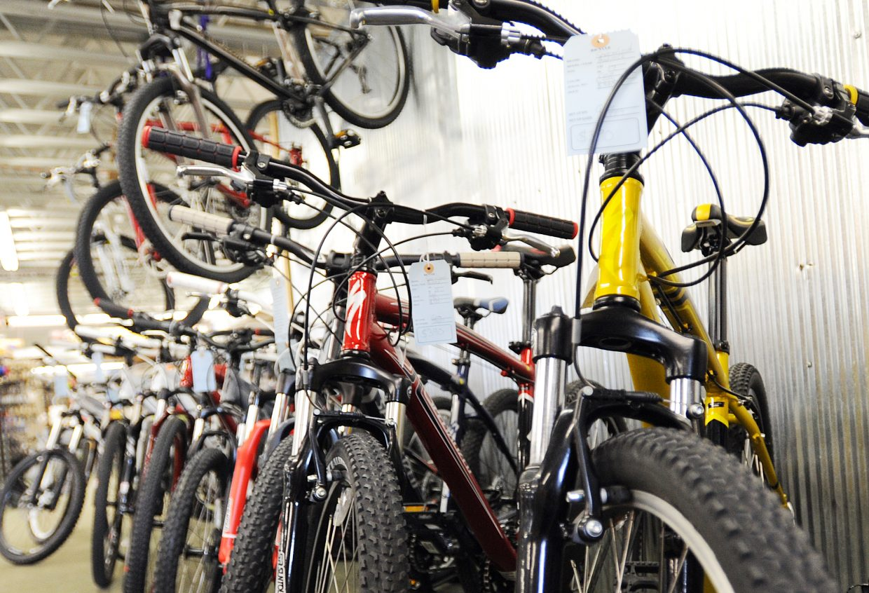 The Specialized Hard Rock Sport, yellow, is one of the most affordable mountain bikes in Steamboat Springs at $390 at Ski Haus. But, small price tags come with many concessions, including a lack of disc brakes, cheaper components and a heavier frame.
