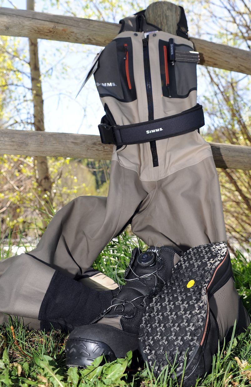 The G4 Guide Stockingfoot waders and Simms Rivertek Boa boots ensure dry warmth in cold Rocky Mountain rivers and streams. They're available at Steamboat Flyfisher in downtown Steamboat Springs.