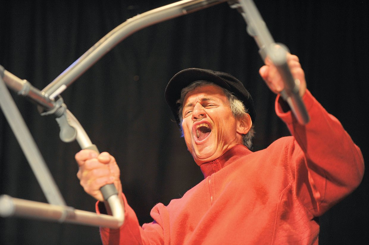 Actor Russ Fasolino rehearses a scene about aging cyclist for this year's performance of Caberet 2012. The shows will take place at the Depot Art Center.
