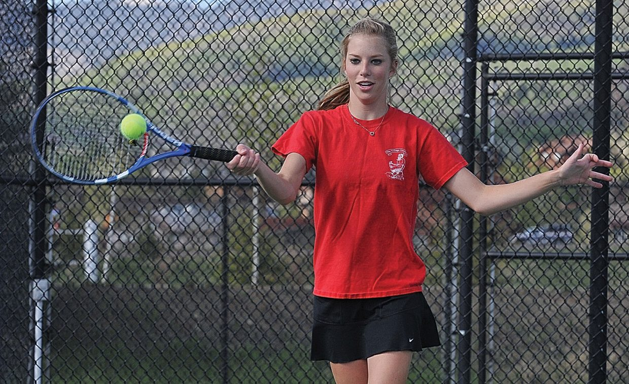 Steamboat Springs No. 2 singles player Rachel Grubbs returns a serve during the Sailors practice Tuesday afternoon at the Tennis Center at Steamboat Springs.