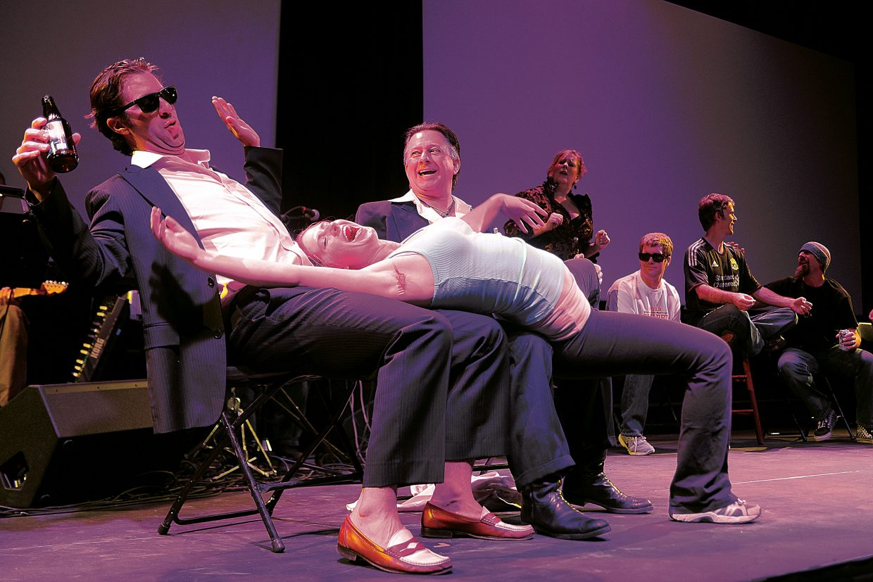 """Grant Bursek, from left, Lydia Kindred and Randy Salky perform a skit at the dress rehearsal for """"Cabaret 2013: Barely Legal"""" on Wednesday night. The show premieres at 7 p.m. Thursday."""