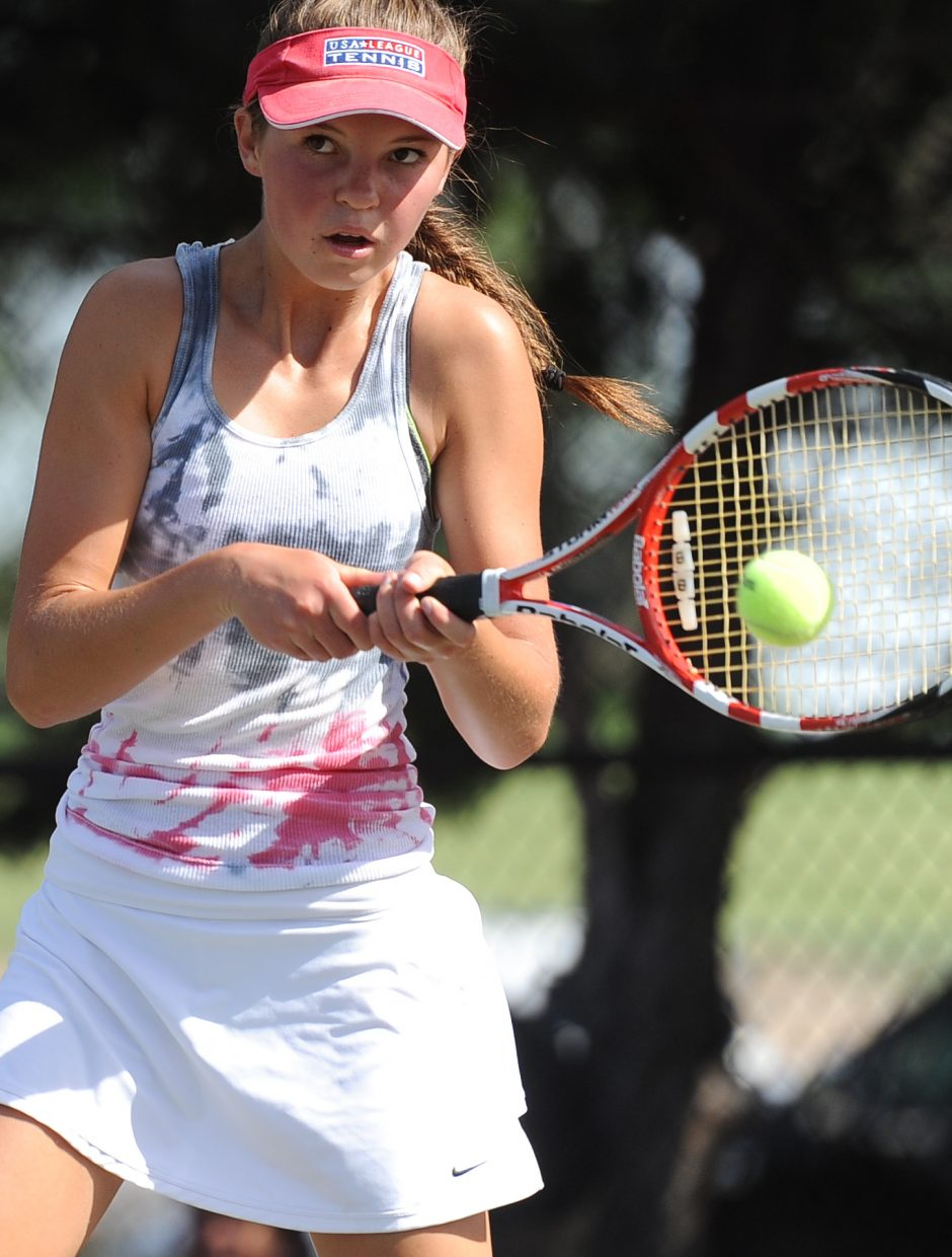 Steamboat's Kira Lorenzen connects with a shot Thursday in Pueblo.
