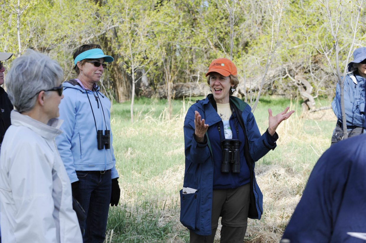 Yampa Valley Birding Club coordinator Nancy Merrill talks during International Migratory Bird Day on Saturday at the Carpenter Ranch.