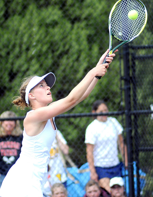 Kylee Swiggart plays on Thursday at the state tennis tournament in Pueblo.