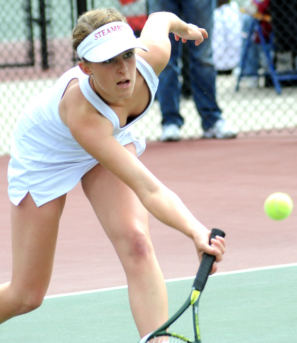 Kylee Swiggart lunges for a ball Thursday at the state tennis tournament in Pueblo.