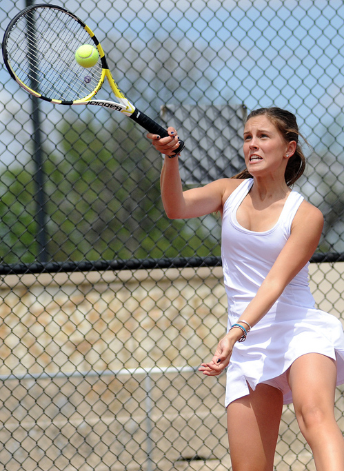 Steamboat Springs High School's Summer Smalley plays in the state tennis tournament in Pueblo on Thursday.