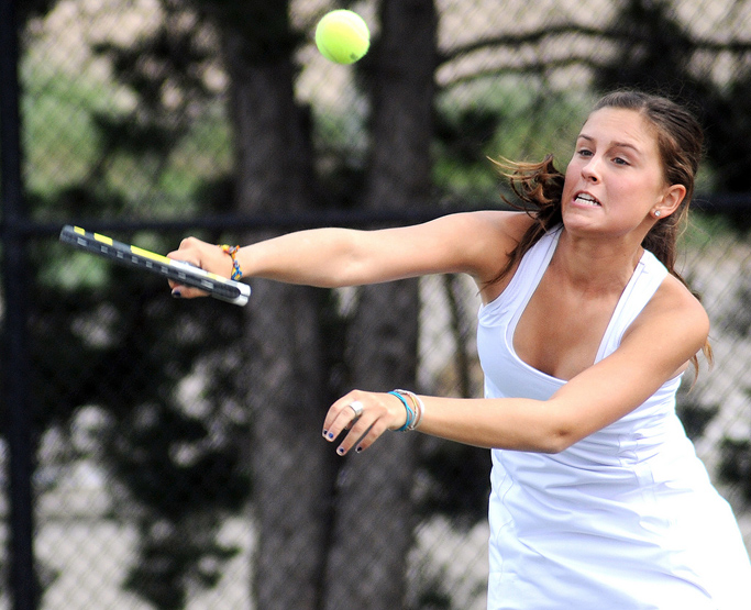 Summer Smalley plays during the state tennis tournament.
