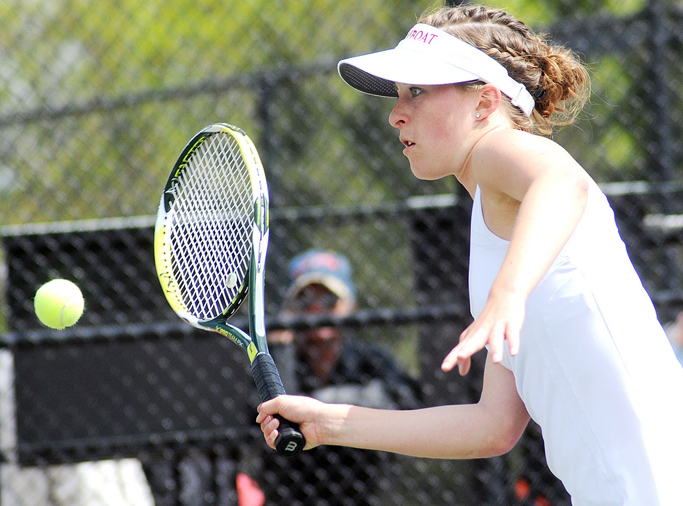 Kate Cooper plays Thursday at the state tennis tournament in Pueblo.