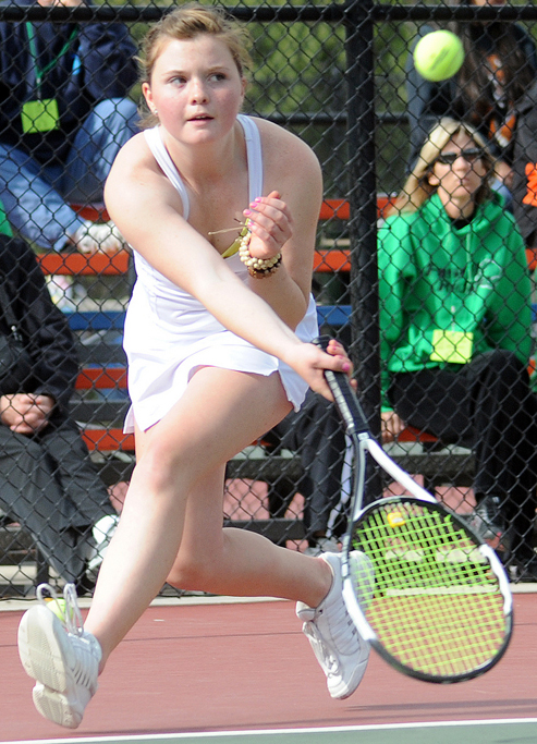 Steamboat Springs High School's Katie Ross plays Thursday in the state tennis tournament.