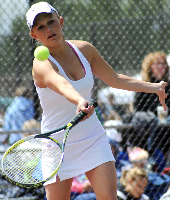 Steamboat Springs High School's Sara Bearss swings for a return Thursday in the first round of the state tennis tournament in Pueblo.
