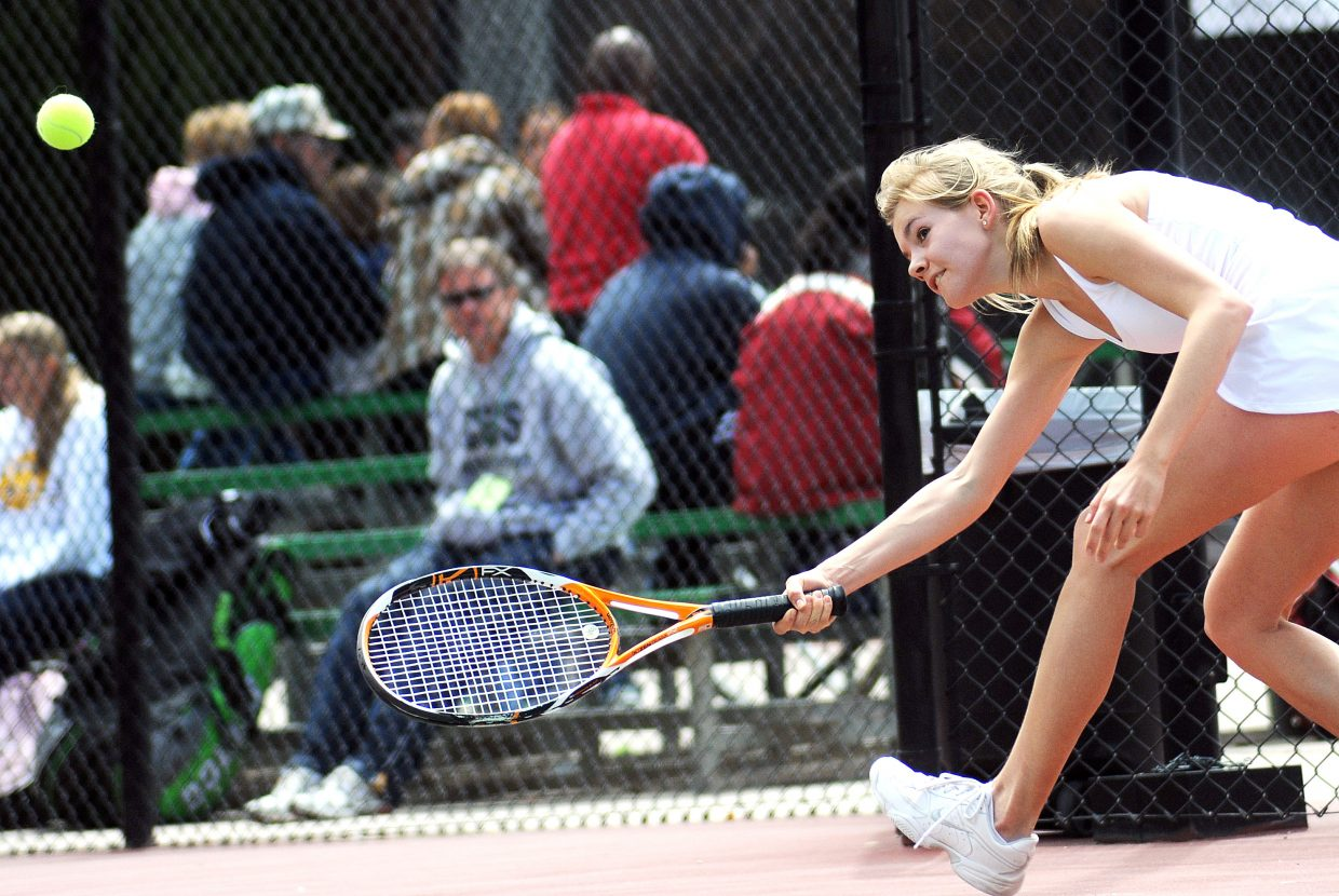 Steamboat Springs High School's Mandy Thielemann returns a ball at the state tennis tournament in Pueblo.