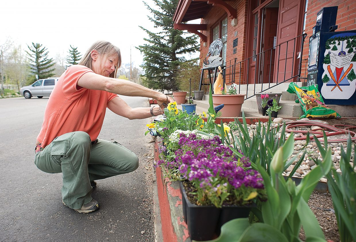 Sue Stempel works on the flowers in front of the Depot Art Center as part of Routt County United Way's Day of Caring on Wednesday in Steamboat Springs.