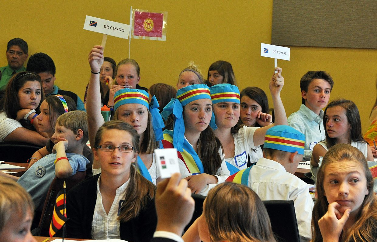 """Delegates from the Democratic Republic of the Congo voice their opposition Tuesday during the General Assembly of the Model United Nations in Steamboat Springs. The event put on by the Northwest Colorado Board of Cooperative Educational Services brought 155 middle school students from eight school districts to Colorado Mountain College for the event. """"It's sort of cool to meet so many new people and you learn a lot about the different countries,"""" Craig Middle School student James Brumblow said. """"Some countries have problems you don't really see here."""""""
