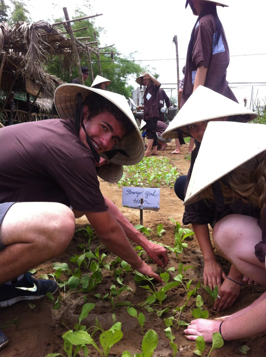 Dylan Parsons learning about organic farming in Hoi An, Vietnam