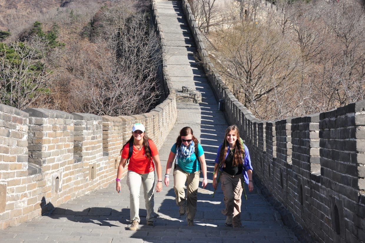 The Lowell Whiteman School students take a walk along the Great Wall of China.