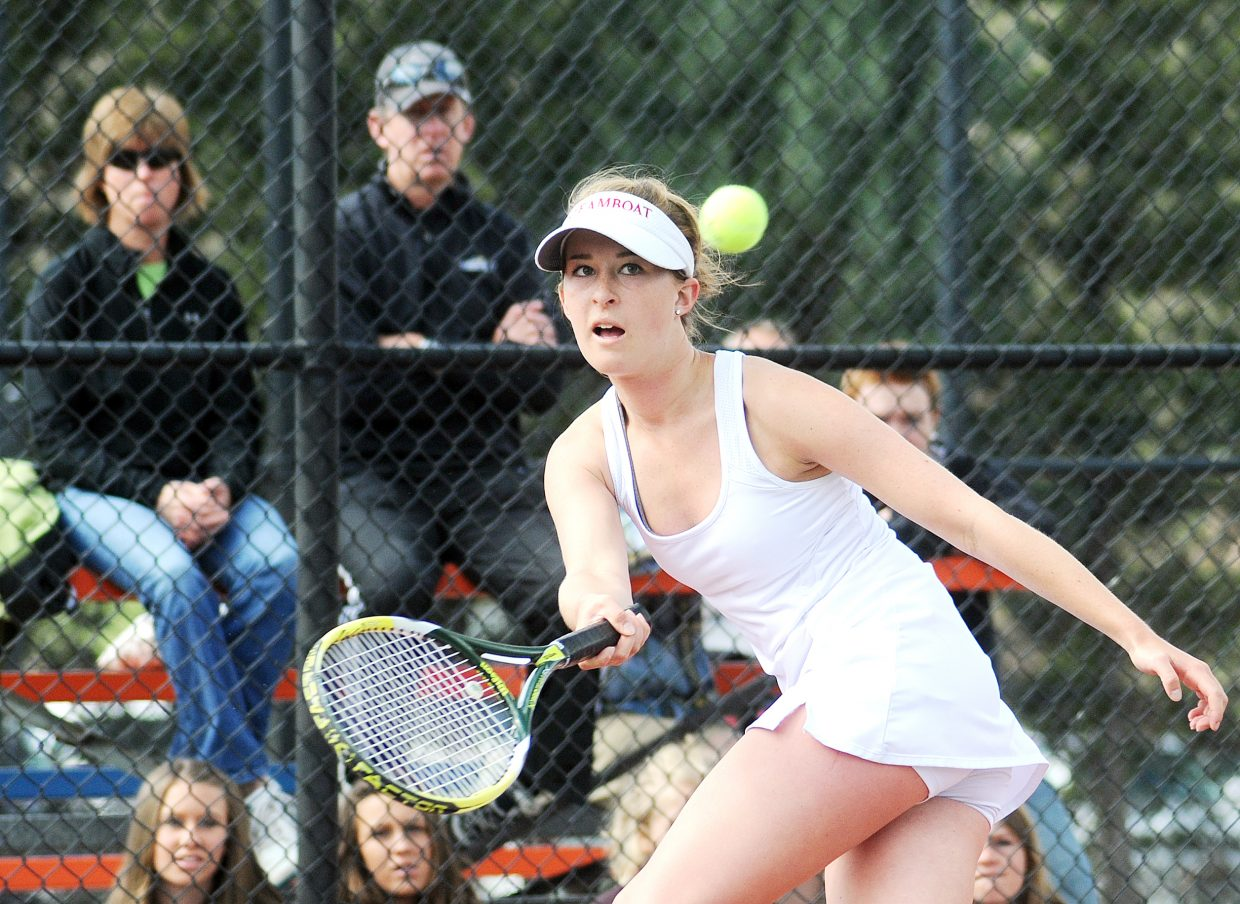 Kylee Swiggart plays Saturday at the state tennis tournament in Pueblo. Swiggart, at No. 2 singles, and Steamboat's No. 3 doubles team of Lauren Siegel and Rachel Grubbs placed fourth in the tournament.