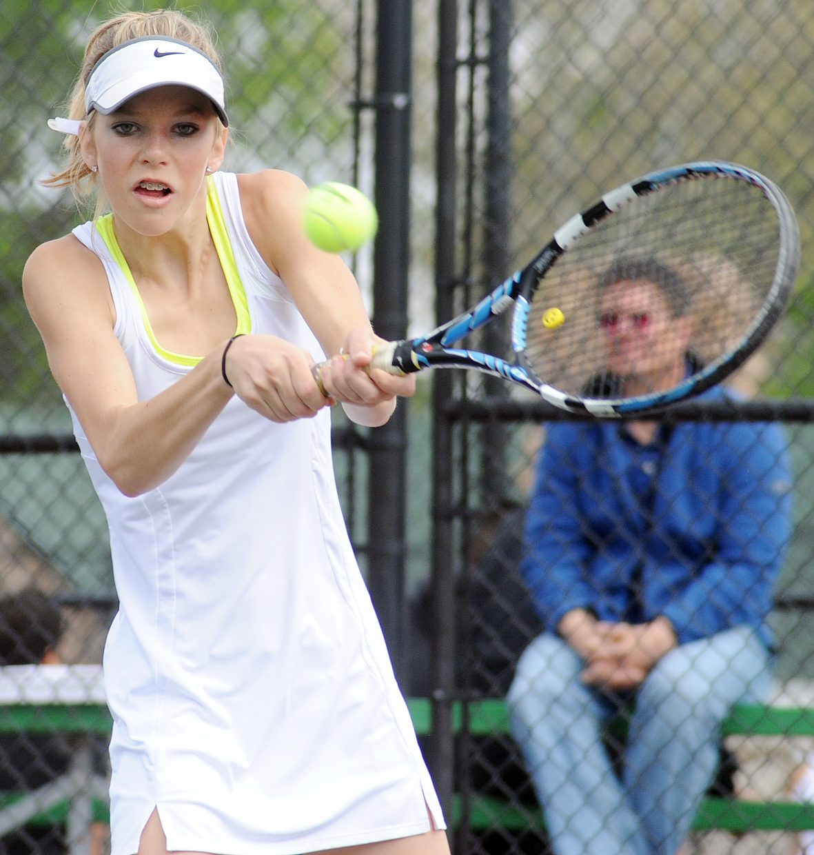Rachel Grubbs plays on Saturday at the state tennis tournament.
