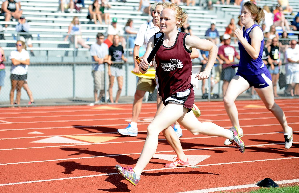 Soroco's Jaelyn Whaley leads the way around the track in the 3,200-meter relay Thursday in Lakewood.