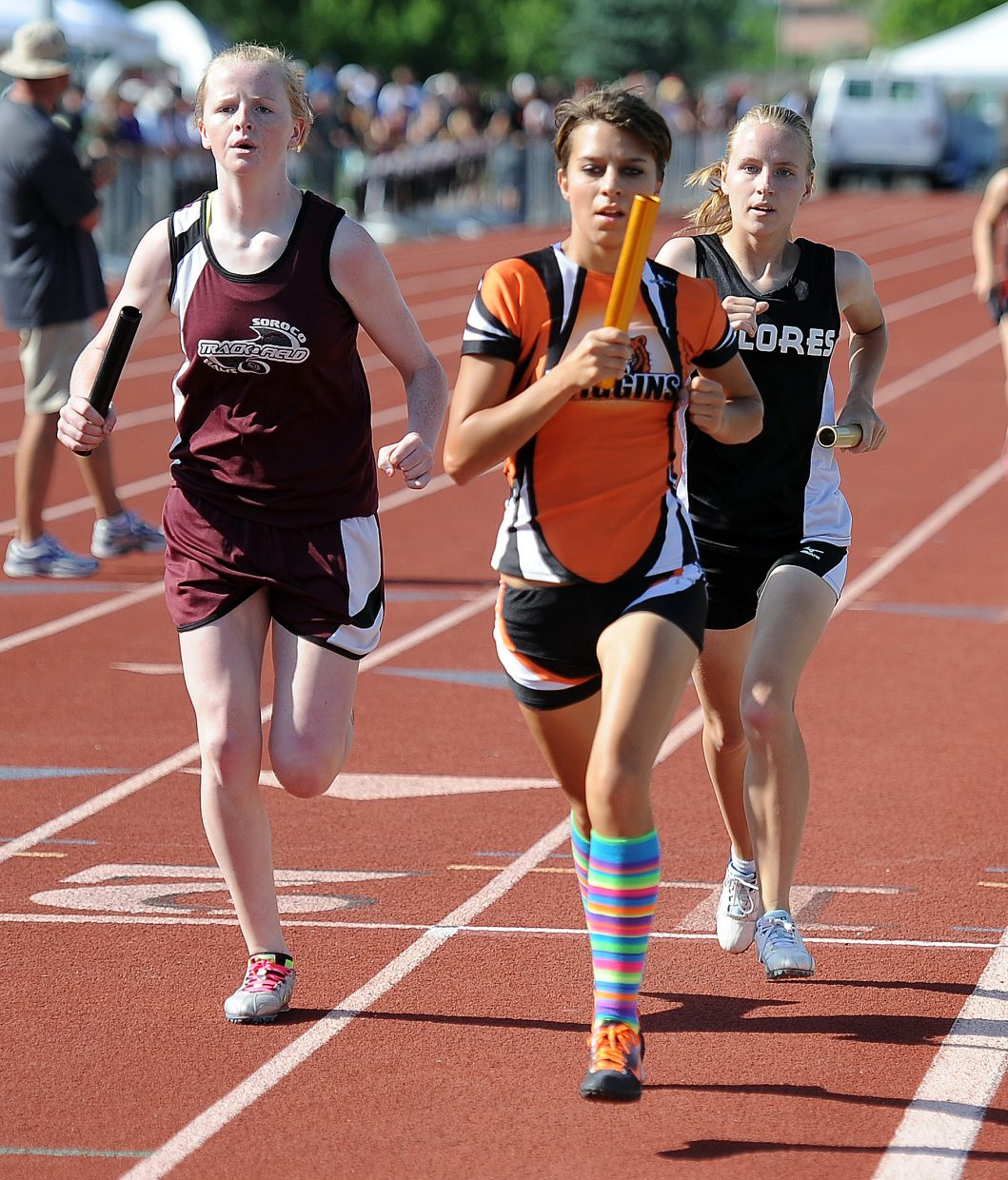 Soroco's Leah Walorski runs Thursday in the 3,200-meter relay at the state track meet in Lakewood.