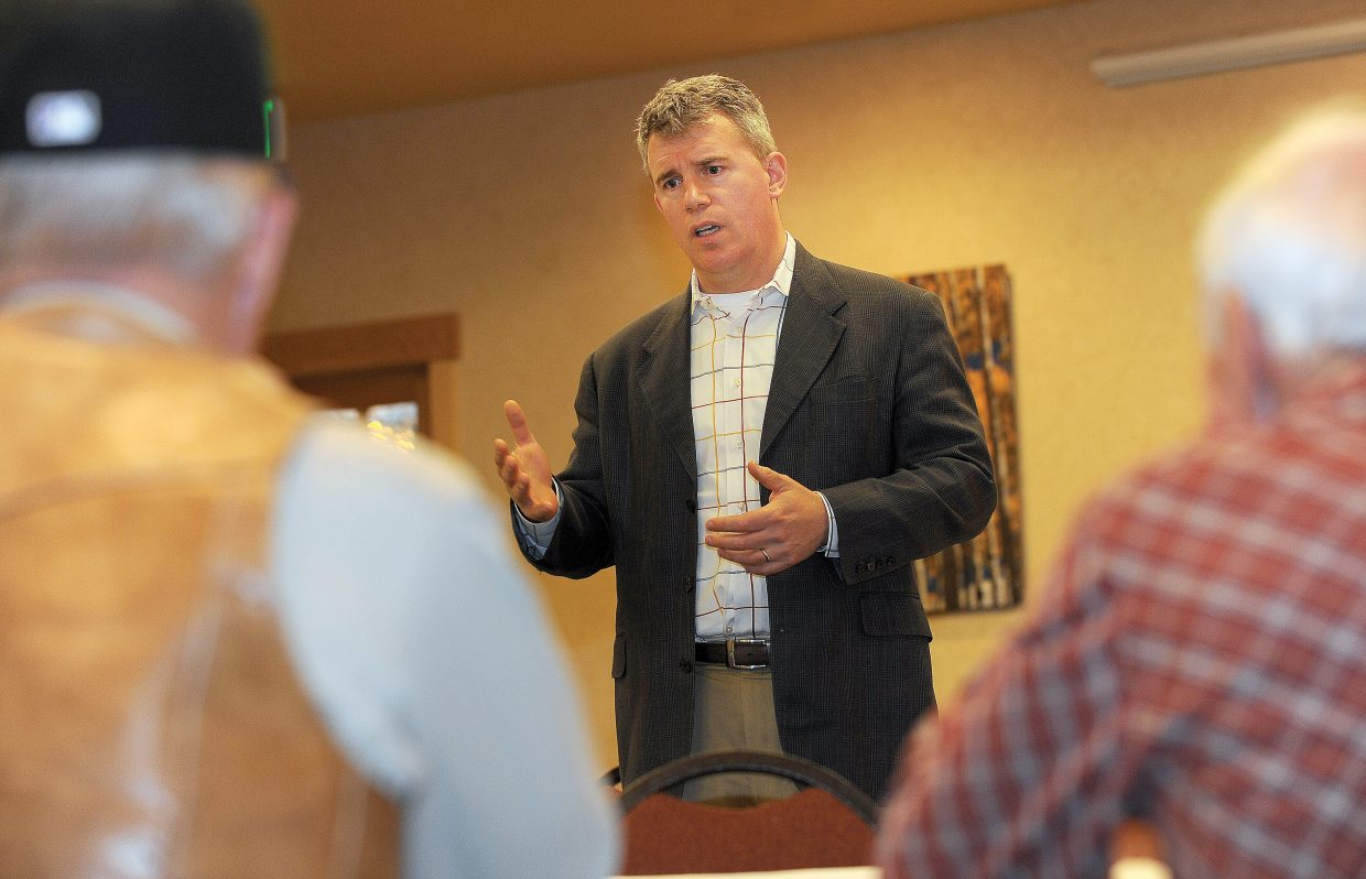 Colorado Secretary of State Scott Gessler talks during a meet and greet Friday afternoon at Rex's American Grill & Bar in Steamboat Springs.