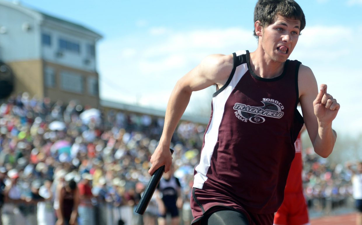 Soroco senior Nic Paxton runs Friday in the boys 1,600-meter relay at the state track meet in Lakewood. The Rams didn't qualify for the finals, but the team still was happy with its performance at the meet.