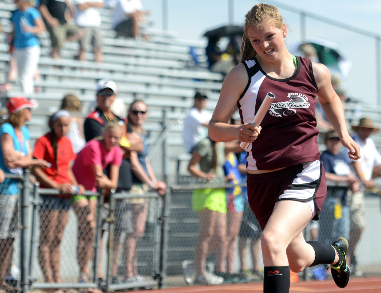 Jessica Rossi runs Friday in the 1,600-meter relay at the state track meet.