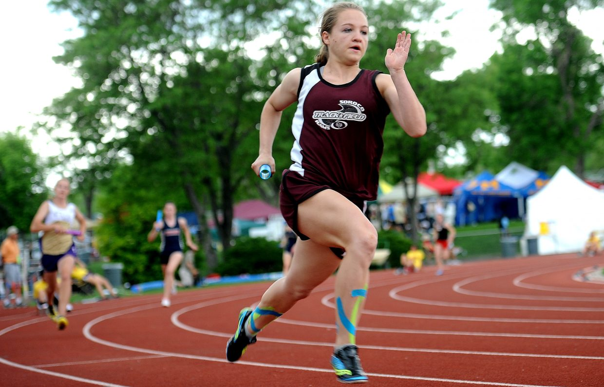 Soroco's Lauryn Bruggink runs Friday in the 1,600-meter relay at the state track meet in Lakewood. That relay just missed on making the finals, but Bruggink helped out in the 800-meter relay, which finished seventh.