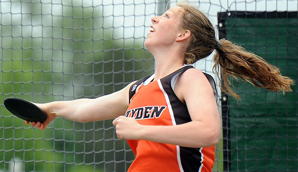 Hayden's Aubree Haskins launches the discus Saturday at the state track meet. She finished fifth in the event.