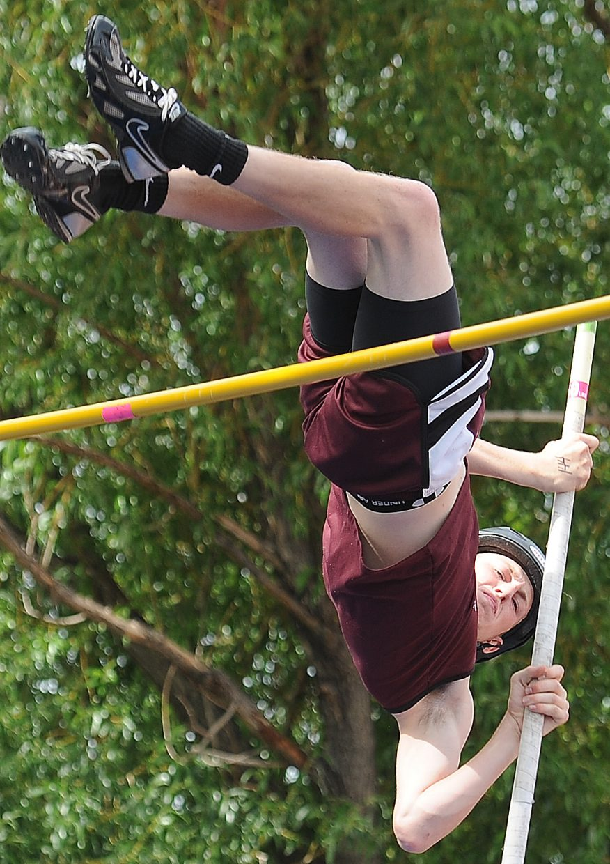 Soroco's AJ Anderson pole vaults Friday at the state track meet in Lakewood.