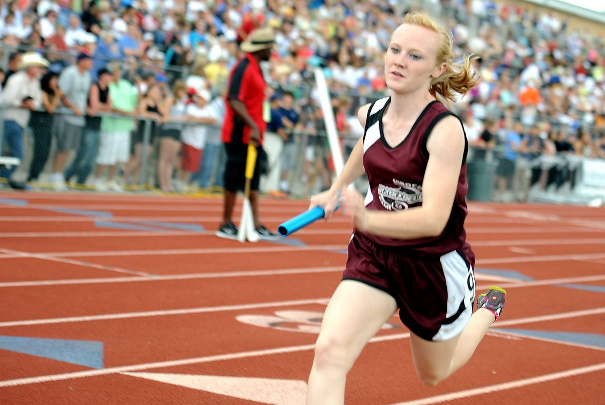 Soroco's Jaelyn Whaley runs Friday at the state track meet in Lakewood.