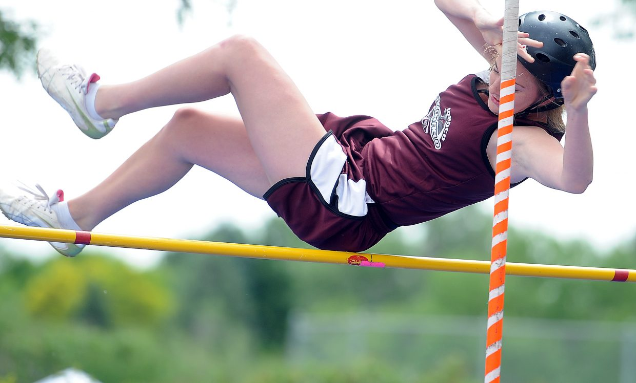 Soroco's Lindsay Miles clears the bar Friday at the state track meet in Lakewood.