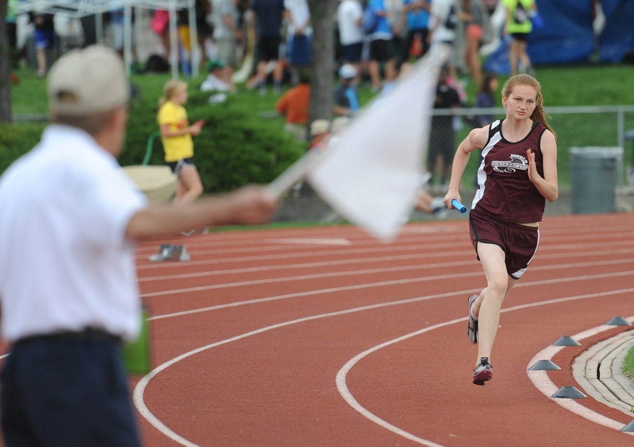 Soroco's Josie Rossi runs Friday in the 1,600-meter relay at the state track meet in Lakewood.