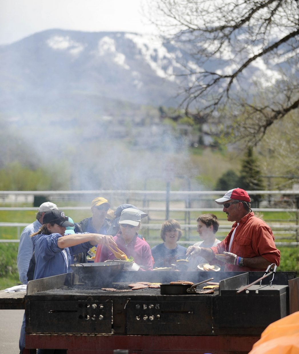 Volunteers line up for lunch at Howelsen Hill after Community Cleanup Day.