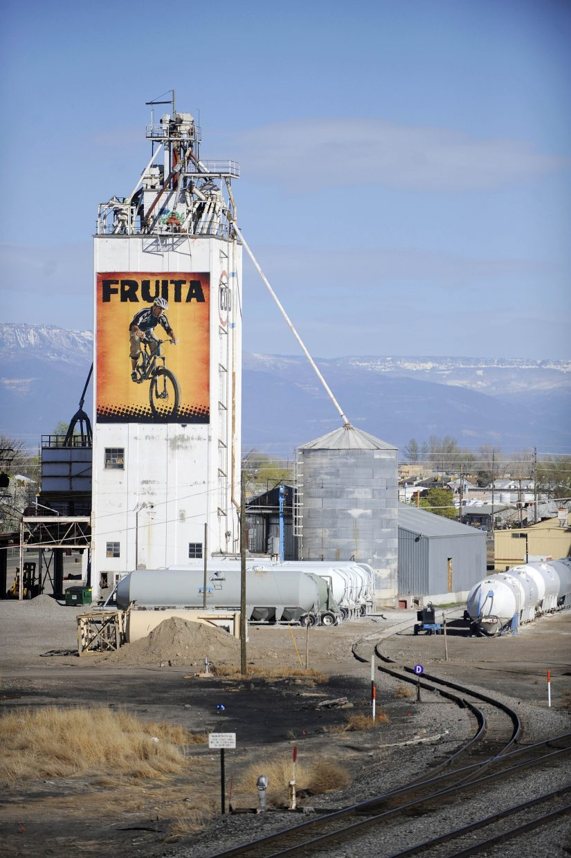 A large banner affixed to a silo helps brand Fruita as a mountain biking destination.
