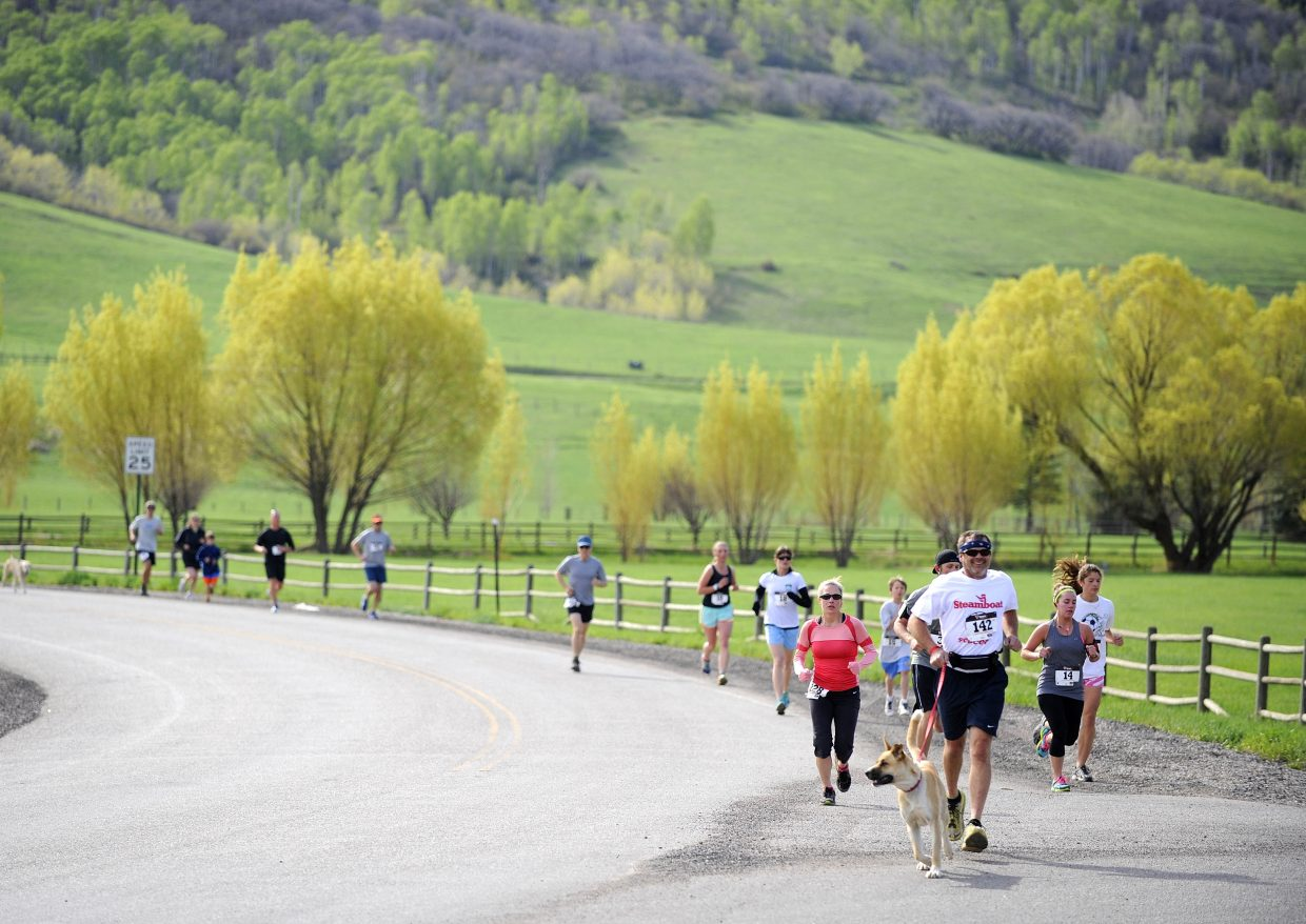 Runners come down Amethyst Drive while competing in the Spirit Challenge on Saturday.