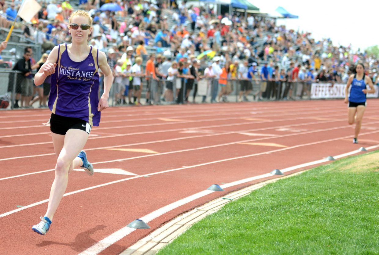West Grand's Tabor Scholl leads the pack on the last lap of the girls 1,600-meter run Saturday at the state track meet in Lakewood. Scholl might be familiar to Steamboat residents because her family frequently competes in Steamboat Springs Running Series races.