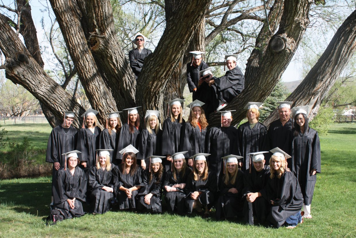 Hayden High School seniors pose for a graduation photo. Not pictured are Jennifer Bugg and Abigail Engle.