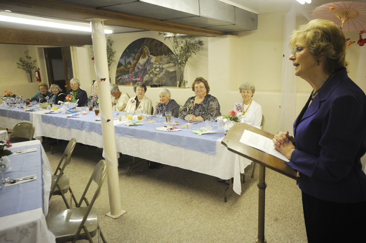 Donna Stich speaks during Saturday's luncheon at the St. Martin of Tours Church in Oak Creek.