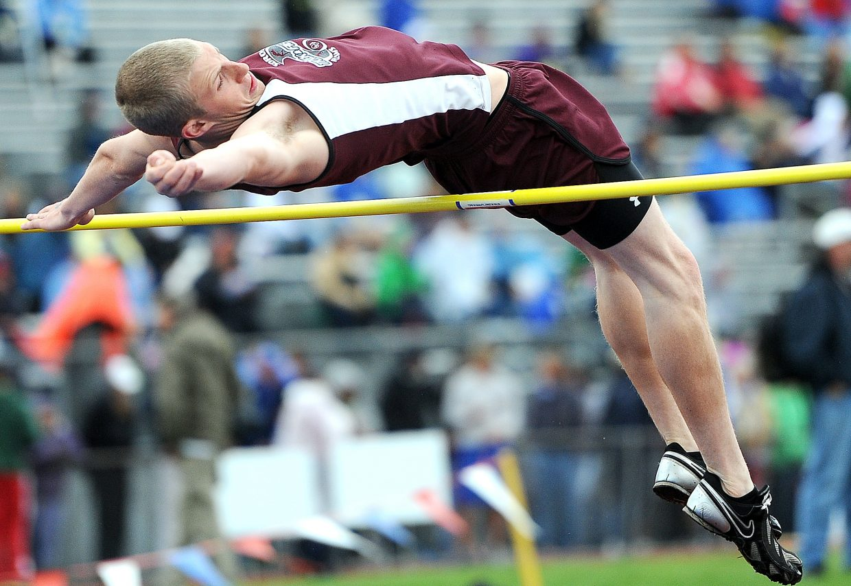 Soroco's AJ Anderson high jumps Saturday at the state meet in Lakewood.
