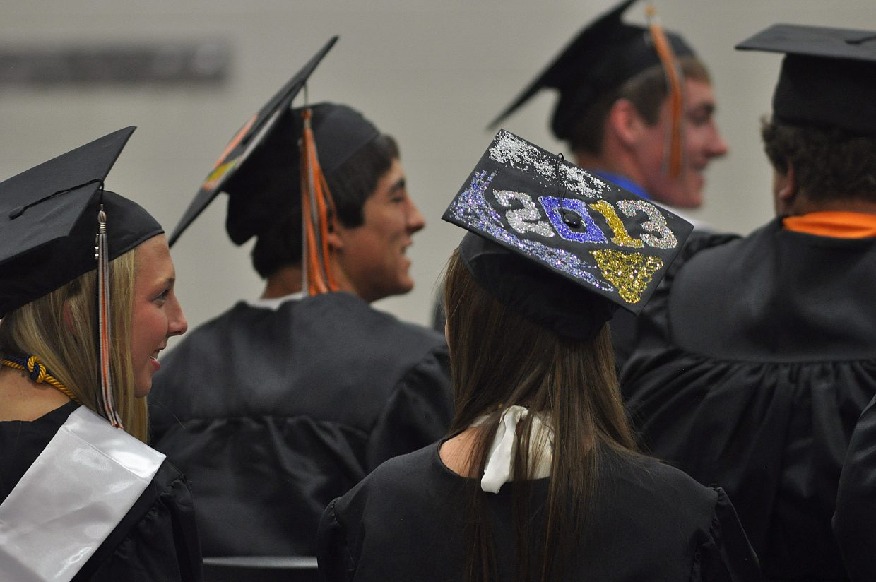 Many graduates decorated their caps for the occasion.