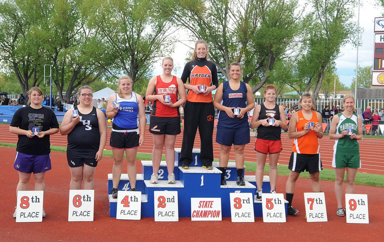 Hayden junior Aubree Haskins won the shotput at the Class 2A state track meet in Lakewood.
