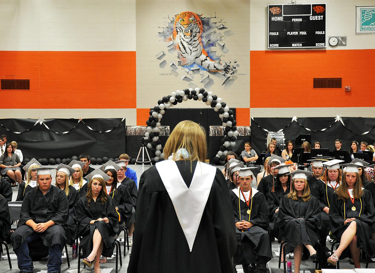 Hayden valedictorian Erin Koehler addresses her classmates Sunday during the graduation ceremony.