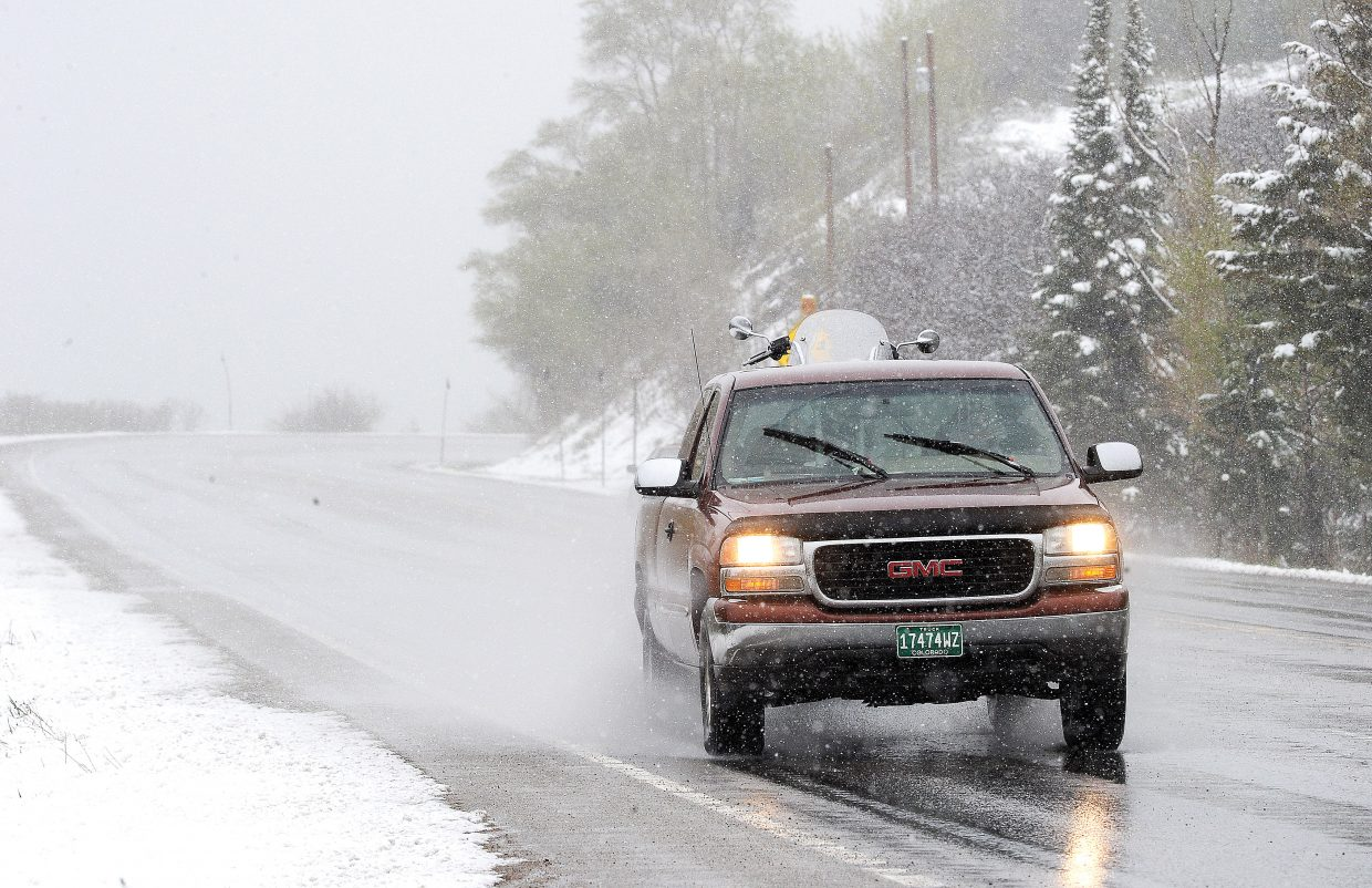 It's May in Colorado, but on Monday motorists headed up Rabbit Ears Pass could have mistaken it for winter. Drivers were greeted by wet roads and snow as a spring storm moved through the area. It will be a different story by midweek, however, with daytime highs Wednesday and Thursday expected to reach into the upper 70s.