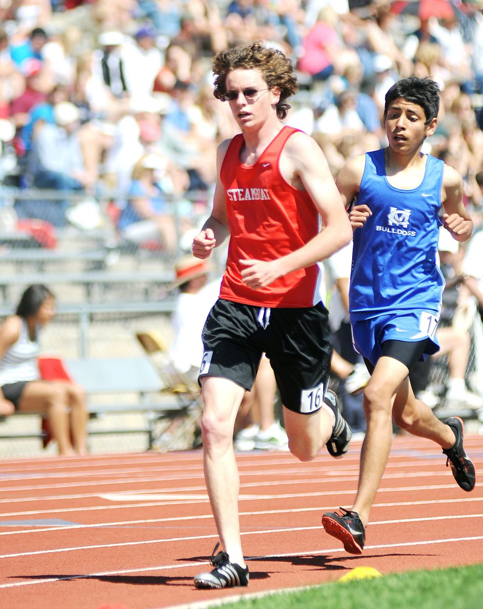 Steamboat's Gus Allen runs in the 3,200-meter run at the state track meet in Lakewood.